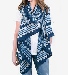 Indigo Chevron Oversized Scarf by Maelu on Scoutmob