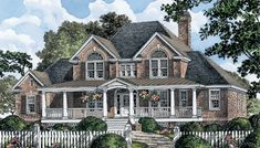 THIS is MY dream home. ePlans Country House Plan Square Feet and 4 Bedrooms from ePlans – House Plan Code Brick House Plans, Dream House Plans, House Floor Plans, My Dream Home, Dream Houses, Farm Houses, Style At Home, Country Style House Plans, The Plan