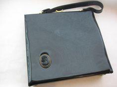 Vinyl Black Handbag With Red Interior   #vintage