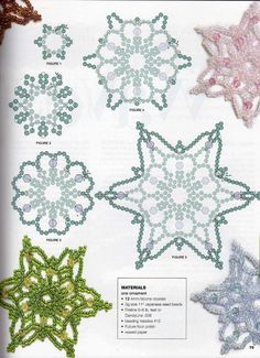 creative beading 3 by Rasim Menaliev - issuu Beaded Christmas Ornaments, Snowflake Ornaments, Christmas Snowflakes, Ornament Crafts, Christmas Crafts, Beaded Snowflake, Christmas Jewelry, Beading Patterns Free, Bead Loom Patterns
