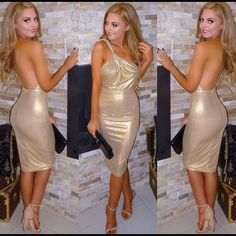 """Imported One Shoulder Toga Inspired Dress Size L This show stopping dress is enough to catch anyone's attention. This beautiful gold shimmer dress is knee length with a fitted stretched fabric, one shoulder, roman toga inspired. This dress is fully lined with an invisible zipper in the back.  The model in the picture is 5'7"""" and wearing an XS.  Material is polyester and polyamide. Dresses One Shoulder"""