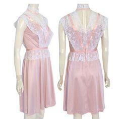 Vintage 1970s Pink Lace Victorian Mini Dress Ribbon Trim  #JCPennyFashions