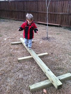 Ideas For Diy Kids Backyard Play Area Balance Beam Kids Outdoor Play, Outdoor Play Spaces, Kids Play Area, Backyard For Kids, Diy For Kids, Indoor Play, Preschool Playground, Natural Playground, Backyard Playground