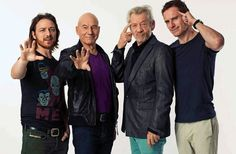 James McAvoy, Patrick Stewart, Ian McKellen & Michael Fassbender I can't even handle the awesomeness that is this photo.James McAvoy is even wearing an xmen shirt Ian Mckellen, Marvel Dc, Marvel Comics, Captain Marvel, X Men, Charles Xavier, Charles Charles, Tony Stark, Marvel Universe