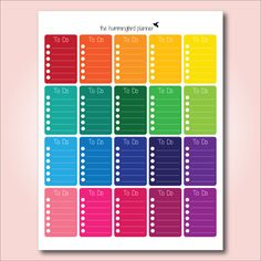 Happy Planner Bright Rainbow Full Box To Do Checklists | Printable Planner Stickers for The Happy Planner by MAMBI - Instant Download by HummingbirdPlanner on Etsy https://www.etsy.com/listing/239006477/happy-planner-bright-rainbow-full-box-to