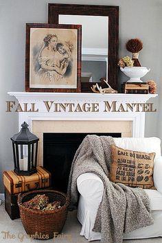 Fall Vintage Mantel