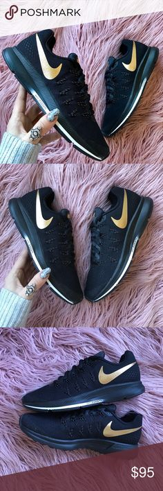 NWT Nike ID black gold swoosh Brand new no box Nike custom ID h2o repel no trades!price is firm!Smooth and snappy, the Women's Nike Air Zoom Pegasus 33 Running Shoe delivers a supportive, lightweight fit and a finely tuned outsole for the miles ahead. This upgraded model boasts a ventilated mesh upper with Flywire cables for support and a locked down feel with every single step. Horizontal and vertical cuts in the crash rail enhance grip over a wide variety of surfaces Please check out my…