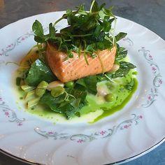 #Servedbyname on the #RyeRestaurantBrooklyn Spring Menu! #LochDuart salmon #PeaShoots #FavaBeans #Asparagus #LemonConfit  Looks #delicious #nomnomnom (www.ryerestaurant.com)