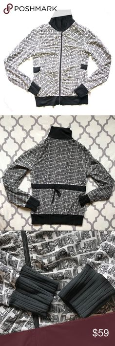 RARE Lululemon Reversible Jacket Sz6 Super Funky and Rare! Like 2 jackets in one! Black and Tan meshed Lululemon Jacket. Logo side is a mesh material. Black side is stretchy and has 2 zipper pockets. In really great condition! No issues, pilling, holes, just missing a zipper pull (if it had one). No size button but it's definitely a 6 and here's the measurements (approx): Armpit to armpit: 17.5 Collar to cuff: 26.5 Neck to waist: 21 lululemon athletica Jackets & Coats