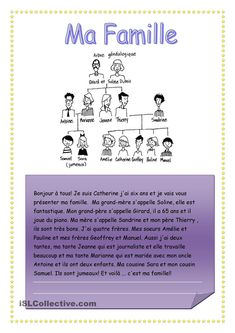 fiche d'exercices MA FAMILLE