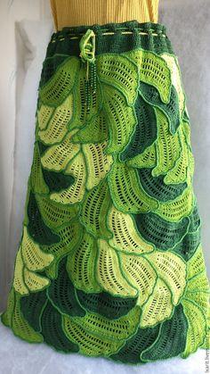 """Купить Юбка """"Лето"""" - зеленый, цветочный, ажурный узор, юбка длинная, хлопок 100%, крючок Irish Crochet Patterns, Crochet Skirt Pattern, Crochet Skirts, Crochet Clothes, Crochet Horse, Crochet Art, Freeform Crochet, Crochet Shawl, Irish Lace"""