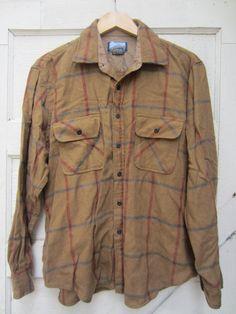 Fieldmaster Plaid Wool Shirt, Men's L Winter Shirts, Almost Always, Military Jacket, Im Not Perfect, Plaid, Wool, Brown, Sleeves, Jackets