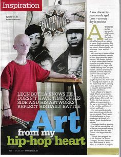 """You"" article of South African Artist/DJ Leon Botha. He was the oldest survivor (26 years) of Progeria. #artist #painter #DJ"