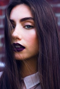 #purple #lips SO trendy for fall! Throw on a big sweater, wine colored combat boots and leggings, and you have a perfect outfit!