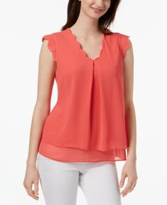 Monteau Petite Scallop-Trim Blouse, Created for Macy's - Orange P/XL Blouse Styles, Blouse Designs, Girls Boutique Dresses, Formal Tops, Sleeves Designs For Dresses, Petite Tops, Indian Designer Wear, Fashion Sewing, Fashion Dresses