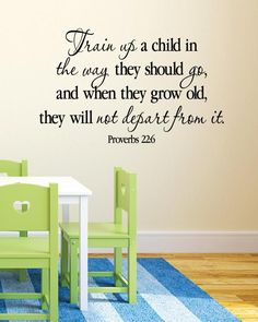Train up a child in the way he should go, and when he grows old he will not depart from it Proverbs 22:6  ~~PRODUCT DESCRIPTION~~  * Removable vinyl wall decal * Colors can be selected from color palatte in the photo listing * Any sample photo used is for illustrative purposes. Measure area to