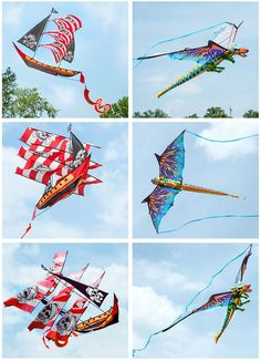 Six-Foot-Long SuperSize 3D Kites Shaped and Printed to Look Like a Pirate Ship and a Dragon