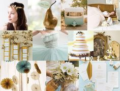 Pale blue, gold, and cream... Colors = chosen (: