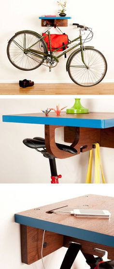 90 Brilliant Ideas to Make Hanging Bike Storage 90 - Rockindeco Hanging Bike Rack, Bicycle Hanger, Indoor Bike Rack, Bike Storage Solutions, Storage Hacks, Rack Velo, Bike Wall Mount, Bicycle Storage, Shelving
