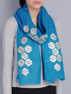 Buy Turquoise Cashmere Wool Gota Patti Hand Embellished Stole Accessories Scarves & Stoles Classic Emblaze Embroidered Silk Clutches Online at Jaypore.com
