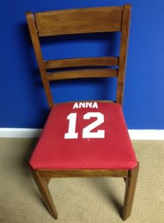 Reupholstered this four dollar thrift store chair with my first grade softball uniform shirt.