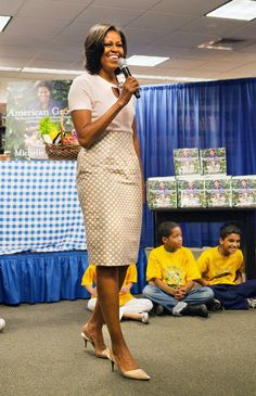 First Lady Michelle Obama speaks before signing her book, American Grown: The Story of the White House Kitchen Garden and Gardens Across America at a Barnes & Noble bookstore. The book's proceeds will go to the National Park Foundation.