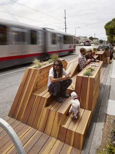 Sunset Parklet: San Francisco public outdoor structure, California - design by INTERSTICE Architects - Sunset Parklet images, San Francisco timber structure design