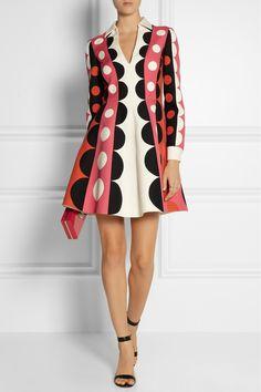 Valentino|Patterned wool and silk-blend mini dress