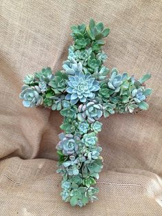 Succulent Cross Wreath- Makes a perfect Wedding Present or decoration, Birthday Present, Housewarming Gift or Funeral Arrangement