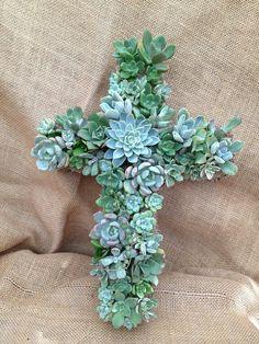 Succulent Cross Wreath - Funeral Arrangement