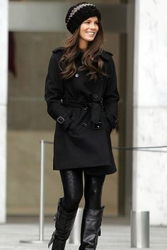 Sleek black coat, leggings, boots and cute woolly beanie - only missing a colourfull scarf here.