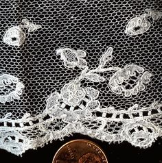 point ground bobbin lace - detail