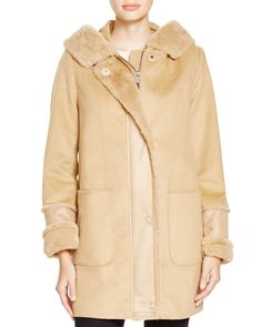Dkny Duffle Coat with Faux Shearling