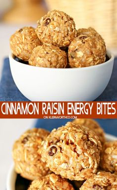 Cinnamon Raisin Energy Bites are a healthy, no-bake snack recipe full of oats, peanut butter, honey & more. Perfect for after school or your daily workout.