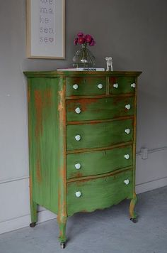Gorgeous green distressed vintage painted drawers...get this look with Chalk Paint®️️ by Annie Sloan in Antibes Green.