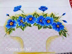 Resultado de imagem para cestas pintadas em panos de pratos