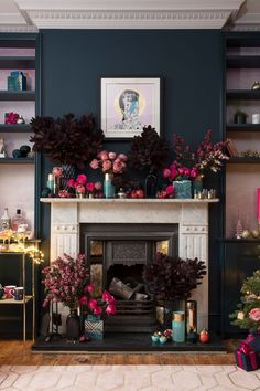 The Pink House London sitting room – big festive reveal! — The Pink House The Pink House sitting room with Farrow & Ball Hague Blue walls, original floorboards, marble fireplace and Rugman Bowie art New Living Room, My New Room, Home And Living, Living Room Decor, Dark Living Rooms, Blue And Pink Living Room, Dark Rooms, Hague Blue, Fireplace Set