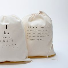 printed cotton bags with text pilo.ca
