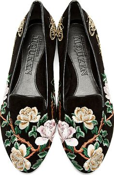 Alexander McQueen - Black & Gold Suede Embroidered Loafers   SSENSE
