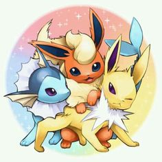 Eevee Evolutions fighting for the camera haha