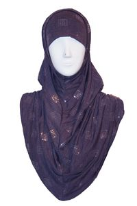Grape marl sequinned luxury jersey hijab with ruched sides.