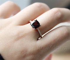 Welcome to RobMdesign!    This charming garnet ring made of 8mm cushion cut vs natural dark red garnet and micro pave natural diamonds. As the