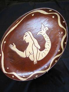 1972 Oley PA Folk Art Redware Pottery Sgraffito R Lago Mermaid Bowl Platter Dish   eBay