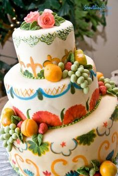 Southwestern style cake created by http://www.ambrosiaoftucson.com/.  Photo by Something Blue www.somethingbluephotography.net