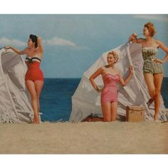 1950s women beach swimsuits fashion photo vintage 2 - a photo on... ❤ liked on Polyvore