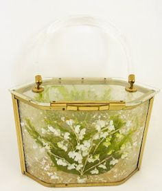 '50's clear purse with lilies of the valley