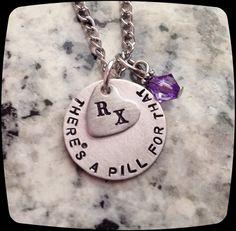 Pharmacy Tech, Pharmacist Jewelry, RX necklace, Pharmacist Gift, Handstamped, Personalized Jewelry