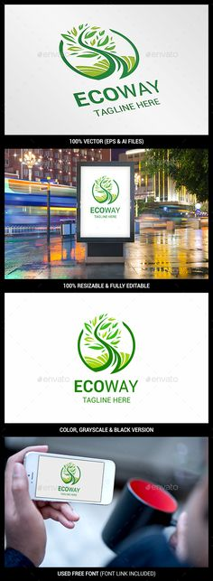 Eco Way - Logo Design Template Vector #logotype Download it here: http://graphicriver.net/item/eco-way-logo/14447564?s_rank=177?ref=nexion