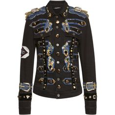 Dolce & Gabbana Embellished Military Jacket (16.150 BRL) ❤ liked on Polyvore featuring outerwear, jackets, black, dolce gabbana jacket, military jackets, long sleeve jacket, embellished jacket and army jacket