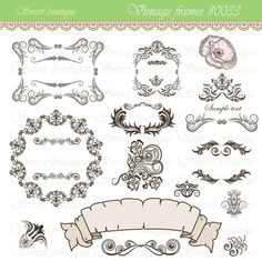 14 Calligraphy Clip Art Clipart DIY Wedding Invitation Designs Scrapbook Embellishment Digital Frame 0033